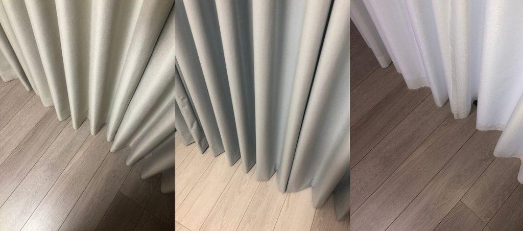 サンゲツ、スミノエ、テキスタイルデポのカーテンのプリーツ