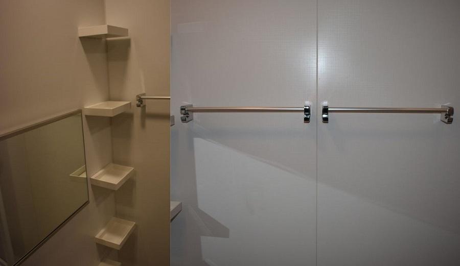 浴室の収納棚とタオルバー