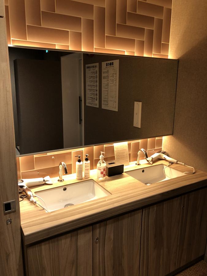 スーパーホテル別府駅前の大浴場にある洗面台