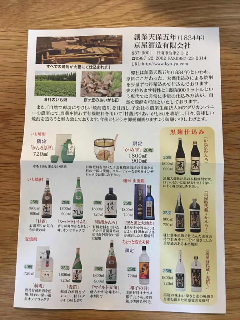 京屋酒造で取り扱っているお酒についての説明書
